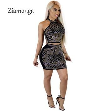Ziamonga Summer Women Dress Sexy Off Shoulder Dresses Rhinestone Black Two Piece Party Club Wear Bodycon Dress Club Wear Vestido