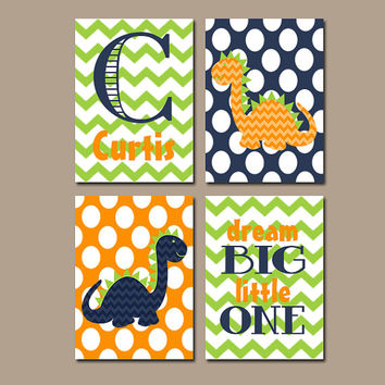 DINOSAUR Wall Art Boy Nursery Dino Artwork Custom Name Child Dream Big Bedroom Bathroom Chevron Print Set of 4 Prints Baby Decor