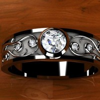 Certified Diamond Custom Vine Work Bezel Set in by WroughtGold