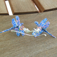 Origami Dragonfly Earrings, Dragonfly Jewelry, Blue Dragonfly Earrings, Blue Earrings, Cute Blue Earrings, Spring Earrings, Cute Jewelry
