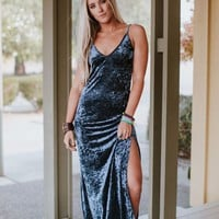 Sarita Crushed Velvet Maxi Dress - Navy