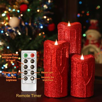 Set of 3 Dancing Flame Remote Control Led Pillar Dripping Candle With Timer