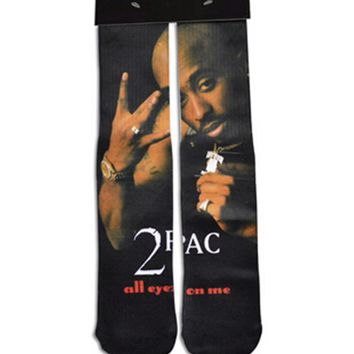 2017 men women long socks 3d character print 2pac tupac socks Cotton funny High Socks towel bottom men Straight stockings
