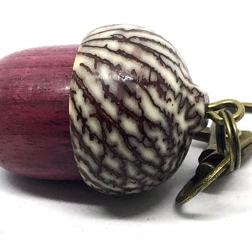 LV-4341 Purpleheart & Betelnut Acorn Box, Pill Holder, Compartment Pendant-SCREW CAP