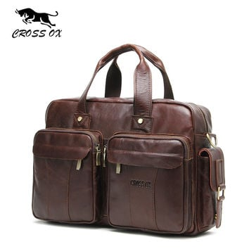 "CROSS OX 2017 Spring New Genuine Leather Men's Briefcase Portfolio Satchel Shoulder Bags For Men Bag 13"" Laptop Bag HB566M"