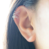 Spiral Cuff Earring with Tiny Cross