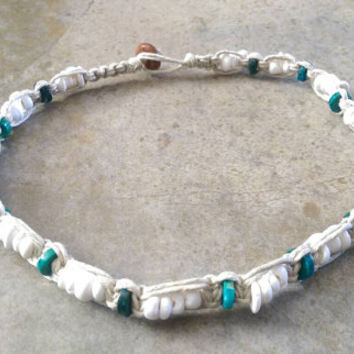 Womens Hemp Choker, Surfer Girl, Chrysocolla, Puka Shell Necklace, Beach Jewelry, Hemp Necklace, Gift for Her, Hemp Choker