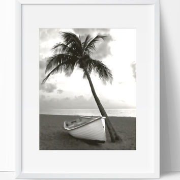 Wall Decor, Boat Beach Print, Boat Art, Instant Downloadable, 8x10, Wall Gallery, Art Collection, Gray Black White, Beach Art, Boat Print