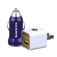 2pk Home-Away USB Car and Wall Chargers Baltimore Ravens