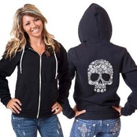 Amazon.com: White Floral Skull American Apparel Hoodie: Everything Else