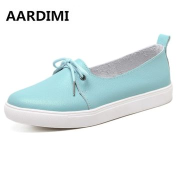 AARDIMI Autumn Lovely Women Shoes Genuine Leather Women Flats Shoes Moccasins Single Solid Ballet Causal Shoes Woman Loafers