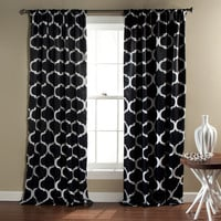 Geo Blackout Black Window Curtain (Pair)