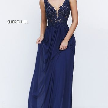 Long V-neck Sherri Hill Gown with Embroidered Top