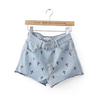 amazinglife — Cross Embroidery Denim Shorts