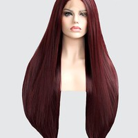Burgundy Straight Synthetic Lace Front Wig