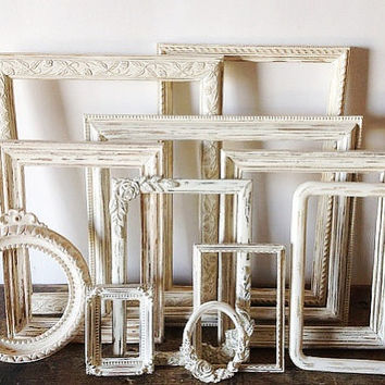 Antique White Picture Frame Set Of 11 Shabby Chic Wall Decor
