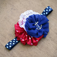 Baby- child -adult Headband, red white and blue headband, fourth of July headband