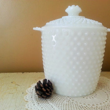 Anchor Hocking Milk Glass Hobnail Ice Bucket Cookie Jar Canister