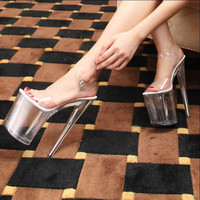 Sexy 20cm 8 Inch Pole Dancing Shoes Ultra High Heel Stiletto Pumps Plus Big Large Size Sandals 10 11 43 44 Tb0235