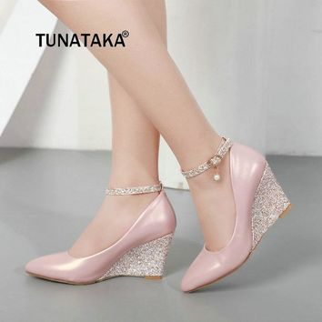 Ladies Wedge Wedding Shoes Shining High Heel Pointed Toe Shoes for Women Fall Elegant Party Shoes Woman 2018 White Pink Black