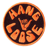 "Cool Vintage 70's 80's Style ""Hang Loose"" Hot Neon Day Glow Orange Morale Surfing Surfer Surf Patch Badge for Cap Hat Shirt 8cm Applique"