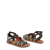 "Women's Black Leather ""Gioseppo FEDRA"" Ethnic Flats/Sandals with Decorative Tassels & Rhinestones"