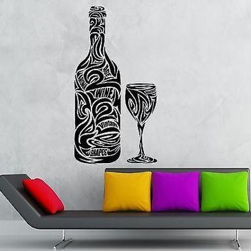 Wall Stickers Vinyl Decal Drink Wine Grapes Alcohol Kitchen Restaurant Unique Gift (ig1823)