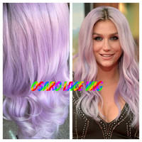 celebrity lace front wig. pastel. lavender silver ombre. wavy. dark root. high quality.  natural hair line. heat safe. any lenght
