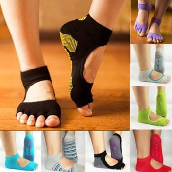 1 Pair Women Yoga Gym Dance Exercise Non Slip Massage Fitness Warm Soft Socks-N2 = 1933068868