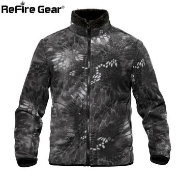 Trendy ReFire Gear Camouflage Reversible Military Fleece Jacket Men Winter Thermal Polar Army Tactical Jacket Double Side Use Warm Coat AT_94_13