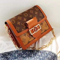 Louis vuitton fashionable hot print contrast brown coffee casual lady flip shoulder bag