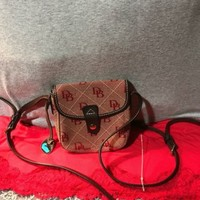Handbag Dooney & Bourke Red Canvas Signature Brown Leather Trim Flap Snap X-Body