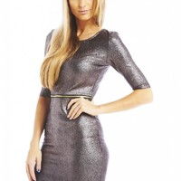 Silver Metallic Bodycon Dress with Zip Waist Detail