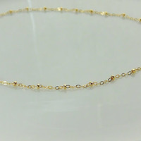 Gold Accent Bead Necklace - Satellite Necklace -OR- Choker - Gold Necklace - Layer Necklace - Plain Satellite Chain