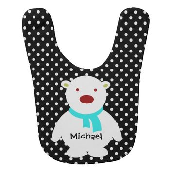 Cute Black/White Polka Dots, Polar Bear, Add name