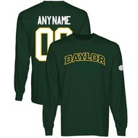 Baylor Bears Personalized Basketball Name & Number Long Sleeve T-Shirt - Green