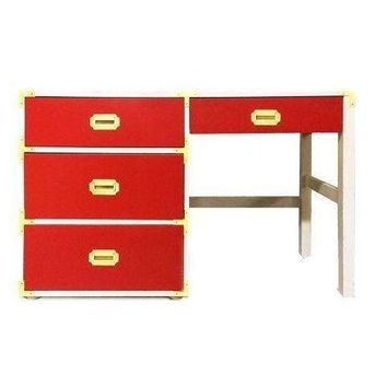 Pre-owned Red Campaign Style Office Desk