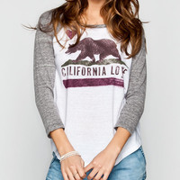 Billabong Bear From Cali Womens Baseball Tee White/Grey  In Sizes