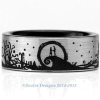 Nightmare Before Christmas Inspired Wraparound Wedding Band Ring Brushed Silver Pipe Cut