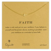 Women's Dogeared 'Reminder - Faith' Boxed Sideways Cross Pendant Necklace