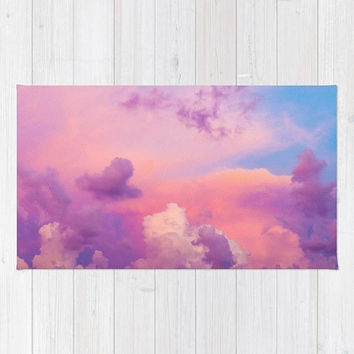 Pink Sky Rug, Baby Pink Girls Nursery Rug, Purple Pink Clouds Area Rug, Bright Pink Bedroom Decor, Purple Bedroom Decor, Pink Dorm Rug