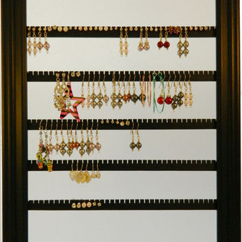 Earring Holder - Holds 100 pair - Available in 7 Colors - 10x13 Frame - Lucky Day Designs - Mahogany