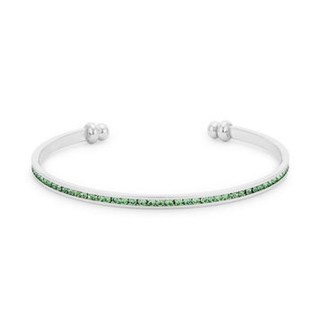 Stack Me Peridot Bangle - Rhodium Plated Brass Cuff With Round Cut Peridot Colored Swarovski Crystals