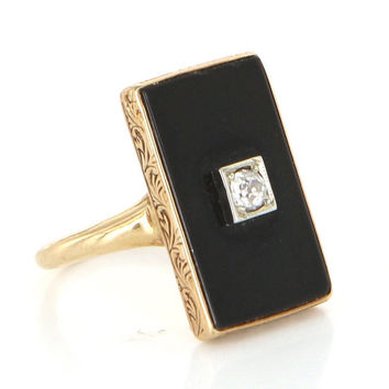 Antique Art Deco 14 Karat Yellow Gold Onyx Diamond Pinky Cocktail Ring Vintage Estate Jewelry