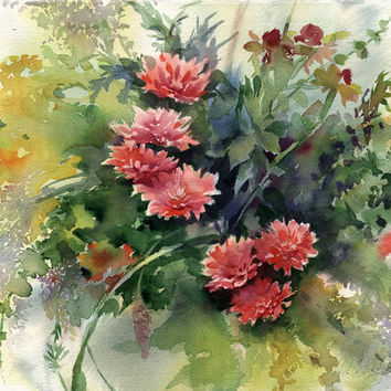"Flower bouquet painting - original watercolor painting or print ""Asters"" paper"