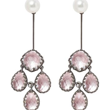 Larkspur & Hawk Antoinette Girandole Drop Earrings - Pink Rhodium Washed Sterling Silver Earrings