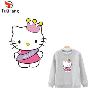 Pink/red hello kitty for kids Patches Heat Transfer Ironing Stickers For T-shirt Dresses Sweatshirt A-level Washable