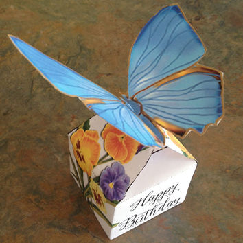 Favor gift box, digital printable, instant download, diy party favor box, blue butterfly, floral, happy birthday, printable favor box
