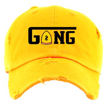 Gang Gold Distressed Dad Hat - Jordan 14 Alternate Ferrari