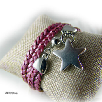 Braided wrap leather bracelet women rose pink star clasp silver - layered look - gift for her girlfriend best friend wife